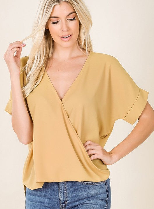 Solid Surplice Top