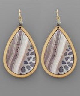 Wooden Tear Drop Dangle
