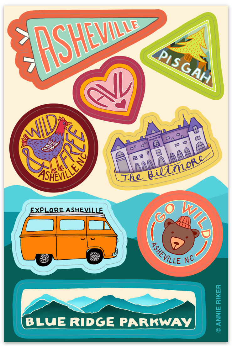 Asheville Sticker Sheet by Annie Riker