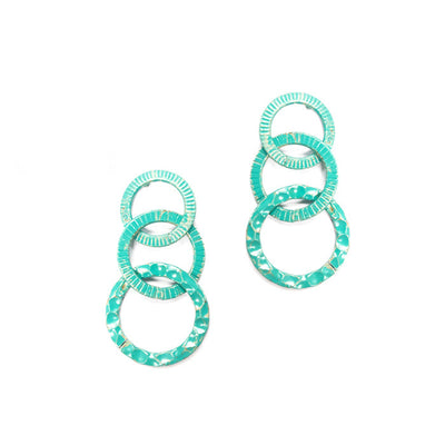 Turquoise Triple Circle earrings