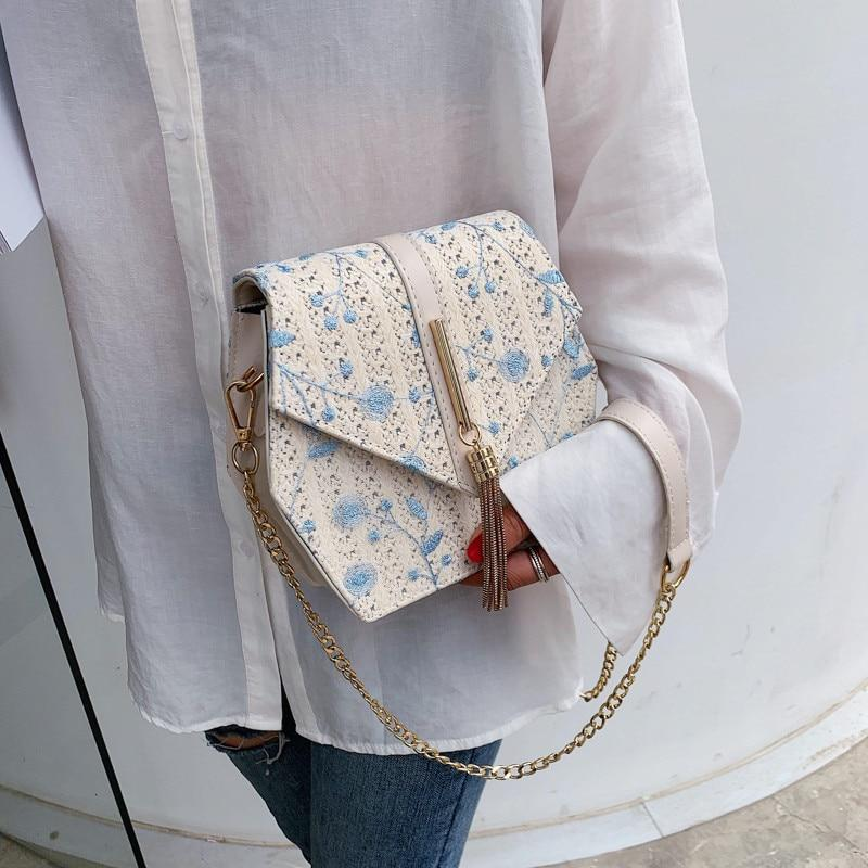 Women's Straw Lace Embroidery Hand Bag