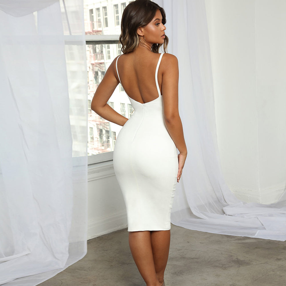 Sexy Backless White Bandage Party Dress - Sedikhii Savings Plus