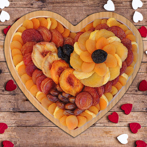Dried Fruit Heart Shaped Bamboo Tray 37 oz