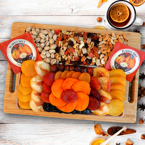 Fruit & Nut Serving Tray with Gourmet Pumpkin Spice Tea 33 oz