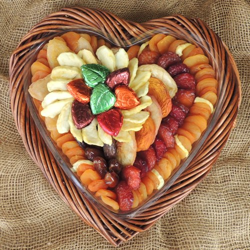 Fall Heart Basket with Chocolate Leaves 51 oz