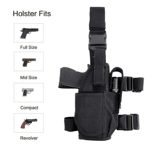 Tactical Drop Leg Holster Adjustable Gun Holster Thigh Pistol Holster with Magazine Pouches for Left/Right Handed Magazine Pouch