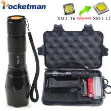Load image into Gallery viewer, Linterna LED Flashlight XML-T6/L2 3800LM Tactical Flashlight Aluminum Waterproof zaklamp Hunting Flash Light +18650+Charger+Box