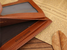 Load image into Gallery viewer, Brown Billfold Coffee Leather Wallet Credit Card Men Purse Clutch Bifold
