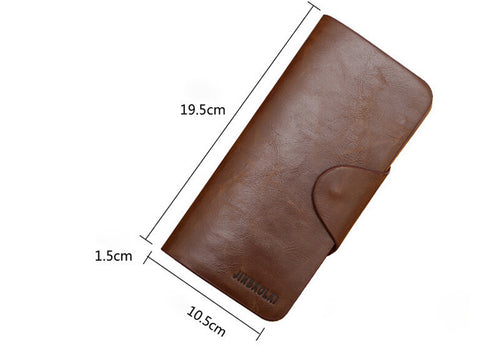 Luxury Mens Leather Long Wallet Pockets ID Card Clutch Bifold Purse