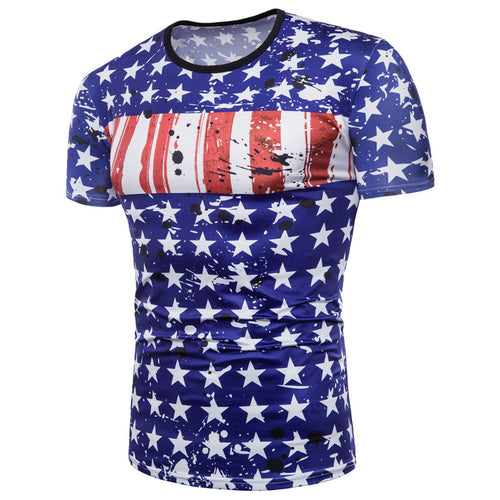 Mens Flag 3D Printing Tees Shirt Short Sleeve T-Shirt Blouse Tops
