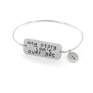 Silver Semicolon Charm Bangle