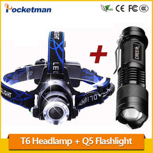 Load image into Gallery viewer, LED Headlamp 3800LM headlight T6 18650 Head lights headlamps + Q5 Mini LED flashlight 2000lm Zoomable Torch Tactical z82