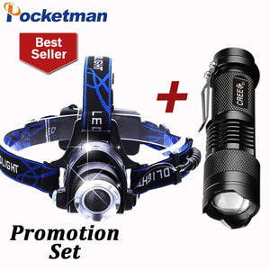 LED Headlamp 3800LM headlight T6 18650 Head lights headlamps + Q5 Mini LED flashlight 2000lm Zoomable Torch Tactical z82