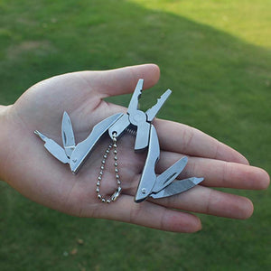 Multi Pocket Mini Folding Plier Portable Outdoor Hand Tools Wire Cutter Screwdriver Knife Saw Multifunction Survival Keychain
