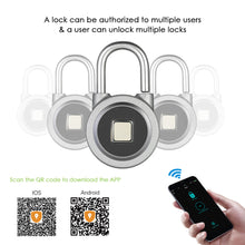 Load image into Gallery viewer, BT Fingerprint Smart Keyless Lock Waterproof APP / Fingerprint Unlock Anti-Theft Padlock Door Luggage Case Lock for Android iOS System--Grey