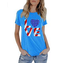 Load image into Gallery viewer, Womens Summer American Flag Print Tops Short Sleeve T-Shirts Blouse