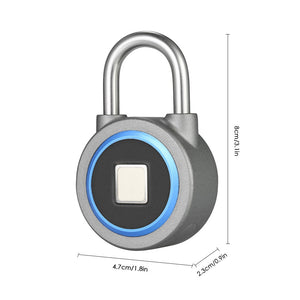 BT Fingerprint Smart Keyless Lock Waterproof APP / Fingerprint Unlock Anti-Theft Padlock Door Luggage Case Lock for Android iOS System--Grey