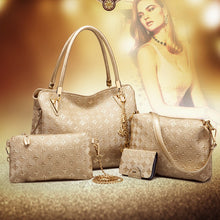 Load image into Gallery viewer, 4pcs Women's Leather Handbags Top Handle Shoulder Bag + Tote Bag + Crossbody Bag + Wallet
