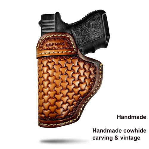 B.B.F Make Gun Holster Leather Handmade Pistol case for M&P Shield Glock 17 19 22 23 25 26 27 32 33 42 43 / Springfield XD-S IWB