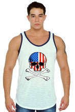 Load image into Gallery viewer, Men's USA Flag Skull w/ Crossed Bones Tank Top