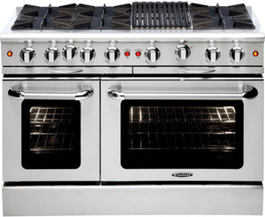 "Capital MCOR486B Culinarian 48"" Freestanding Gas Range With 6 Open Burners 4.9 Cu. Ft. Oven + 12"" BBQ Grill"