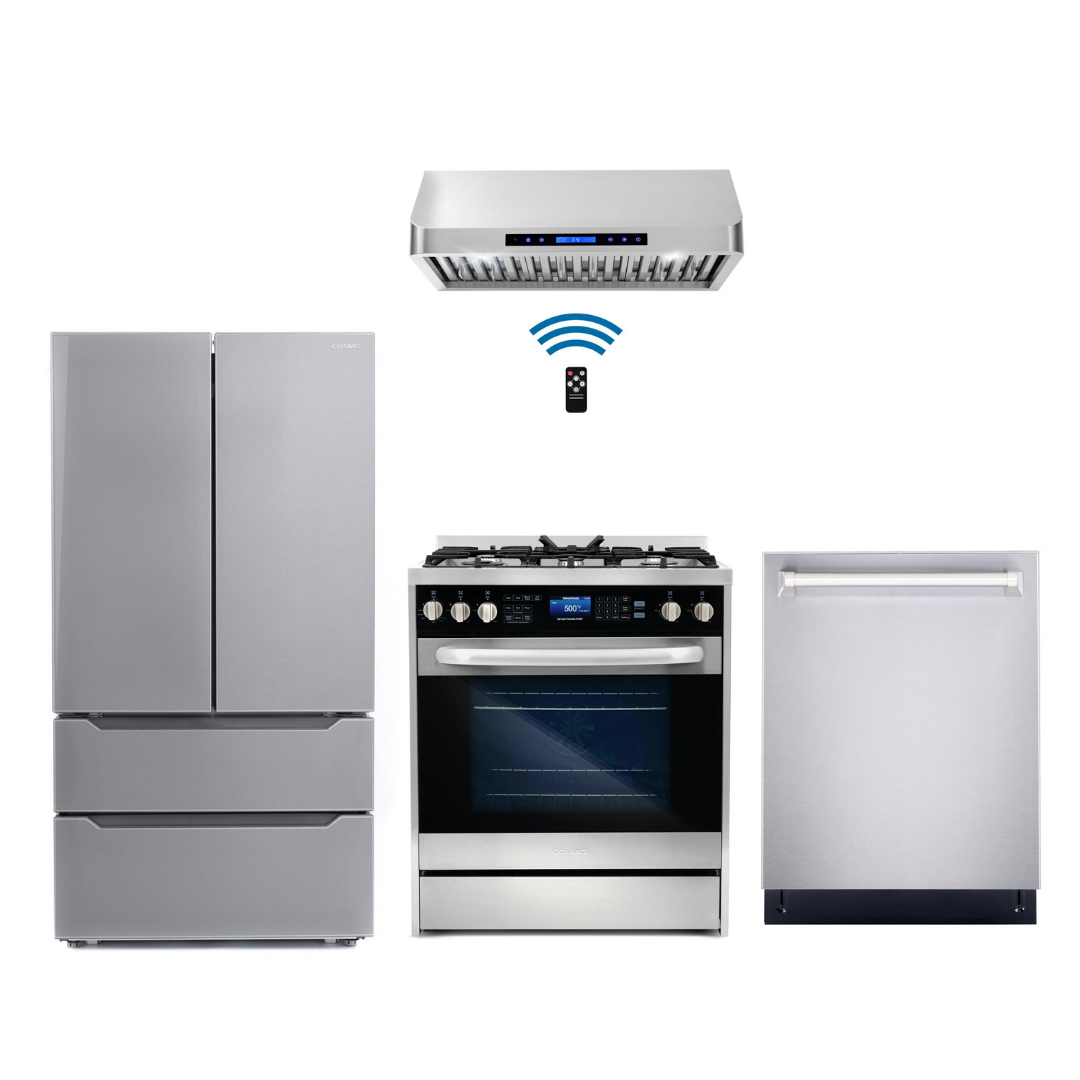 Cosmo 4 Piece Kitchen Appliance Package With Electric Range, Range Hood, Dishwasher, Refrigerator, Stainless Steel COS-305DFSC/QS75 4PC