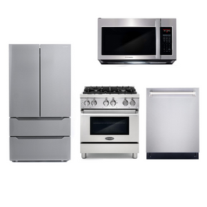 Cosmo 4 Piece Kitchen Appliance Package With Electric Range, Microwave Oven, Dishwasher, Refrigerator Stainless Steel COS-DFR304/ 3019ORM2SS