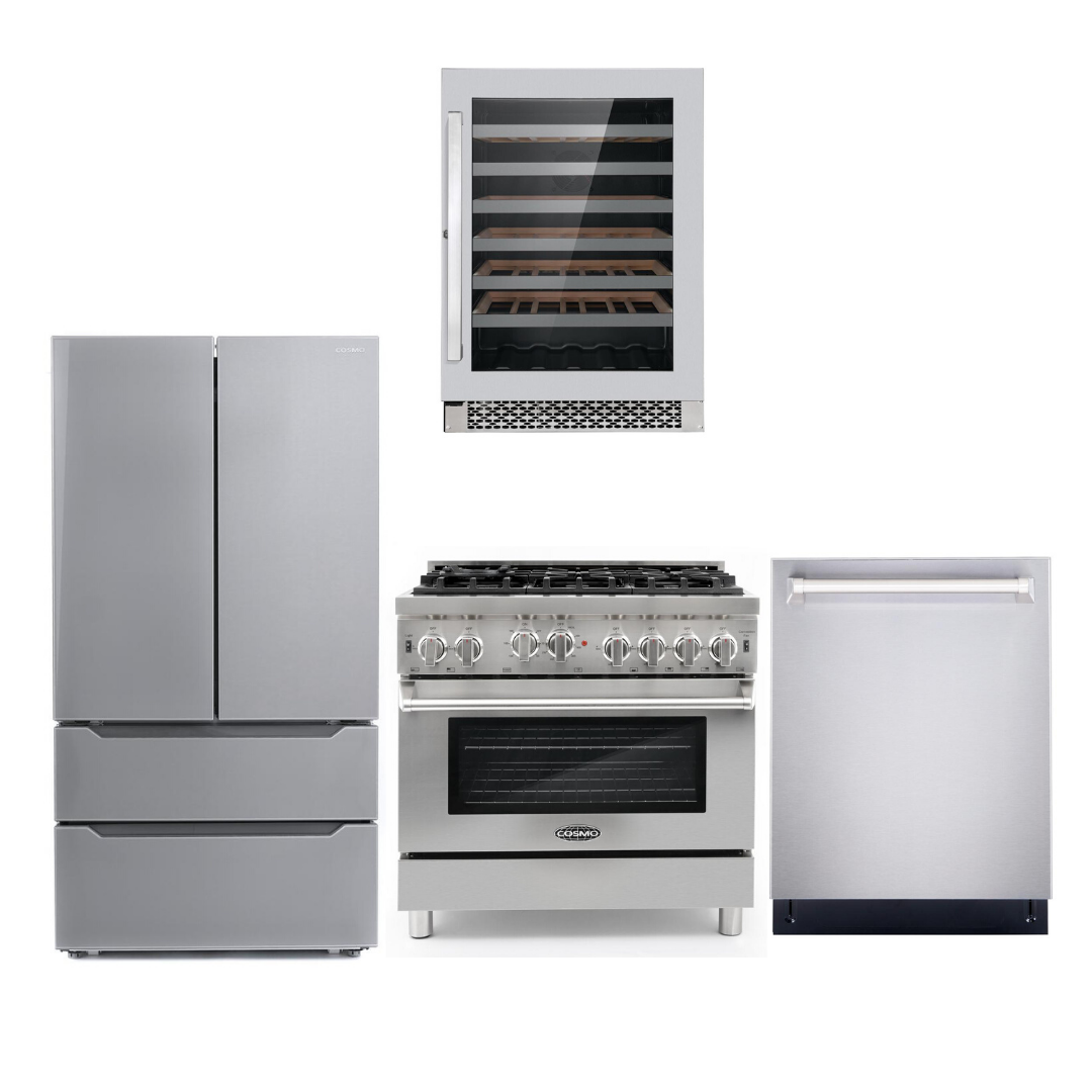 Cosmo 4 Piece Kitchen Appliance Package With Electric Range, Dishwasher, Refrigerator, Wine Cooler Stainless Steel COS-GRP366/NOHOOD 4PC