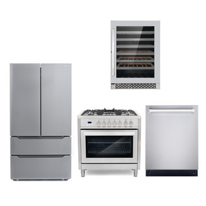 Cosmo 4 Piece Kitchen Appliance Package With Electric Range, Dishwasher, Refrigerator, Wine Cooler Stainless Steel COS-F965/NOHOOD 4PC