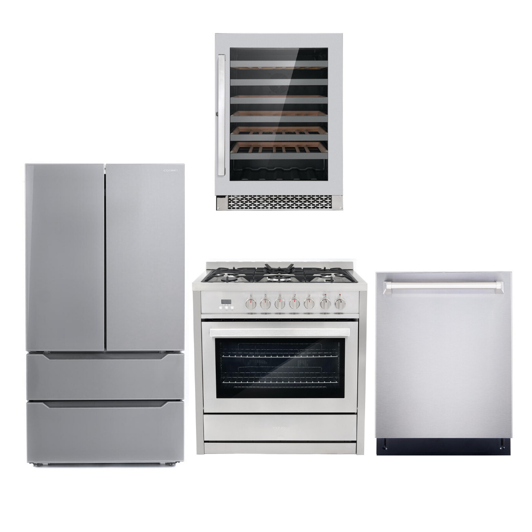 Cosmo 4 Piece Kitchen Appliance Package With Electric Range, Dishwasher, Refrigerator, Wine Cooler Stainless Steel COS-F965NF/NOHOOD 4PC