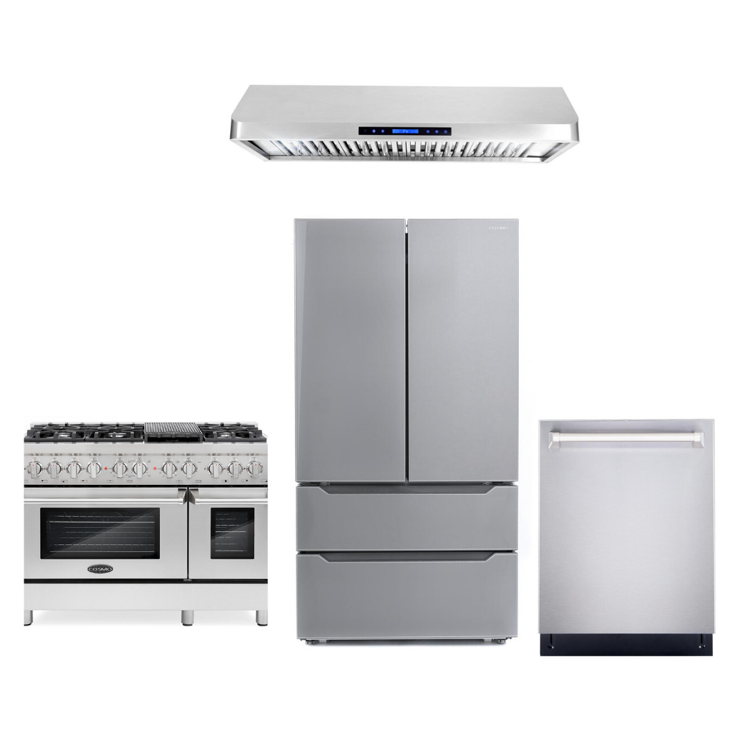 Cosmo 4 Piece Kitchen Appliance Package With Electric Range, Dishwasher, Refrigerator, Range Hood Stainless Steel COS-DFR486G/QS48 4PC