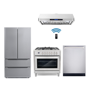 Cosmo 4 Piece Kitchen Appliance Package With Electric Range, Range Hood, Dishwasher, Refrigerator Stainless Steel COS-F965/QS90 4PC