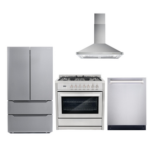Cosmo 4 Piece Kitchen Appliance Package With Electric Range, Dishwasher, Refrigerator, Range Hood Stainless Steel COS-F965NF/63190 4PC