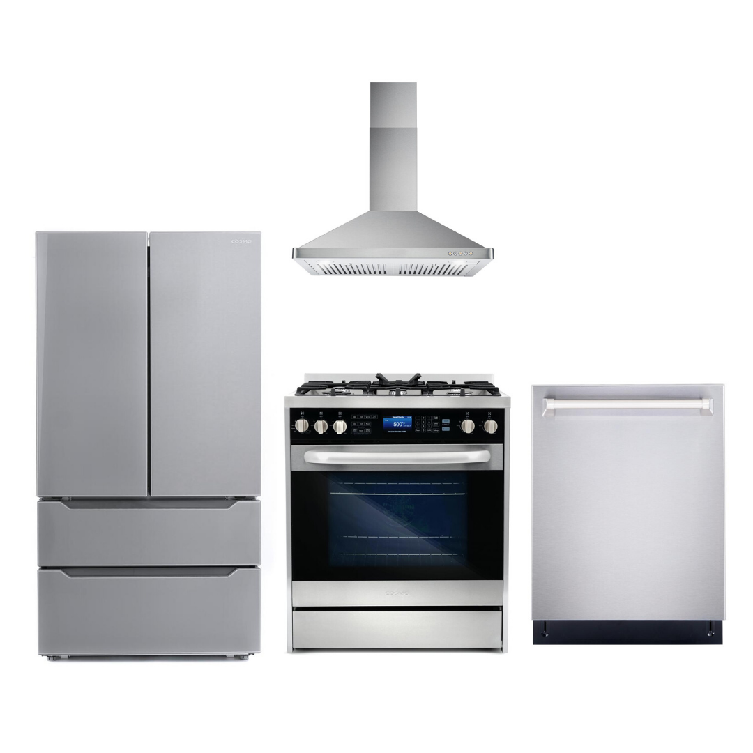 Cosmo 4 Piece Kitchen Appliance Package With Electric Range, Range Hood, Dishwasher, Refrigerator, Stainless Steel COS-305DFSC/63175 4PC