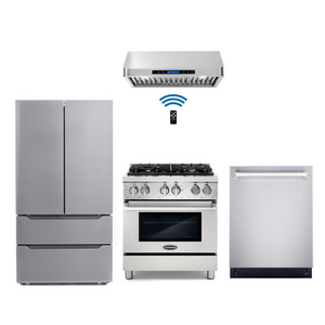 Cosmo 4 Piece Kitchen Appliance Package With Electric Range, Range Hood, Dishwasher, Refrigerator Stainless Steel COS-DFR304/QS75 4PC