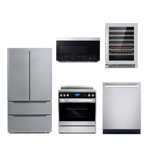 Cosmo 5 Piece Kitchen Appliance Package With Electric Range, Microwave Oven, Dishwasher, Refrigerator, Wine Cooler Stainless Steel COS-305AERC/3016ORM1SS