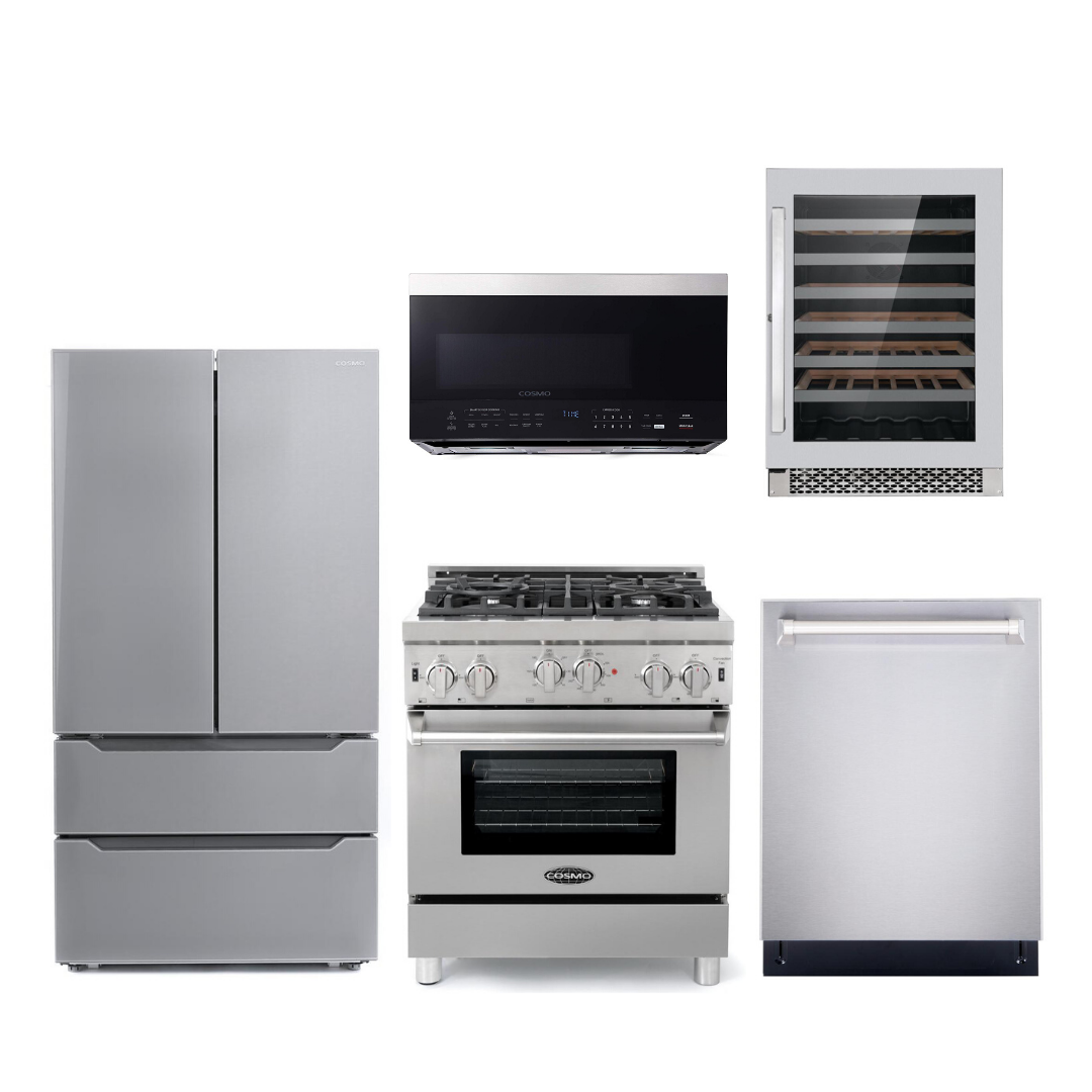 Cosmo 5 Piece Kitchen Appliance Package With Electric Range, Microwave Oven, Dishwasher, Refrigerator, Wine Cooler Stainless Steel COS-GRP304/ 3016ORM1SS