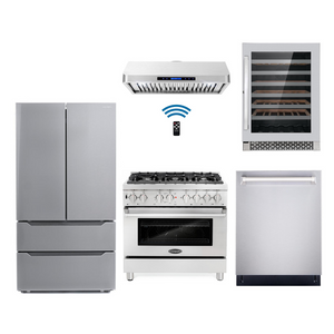 Cosmo 5 Piece Kitchen Appliance Package With Electric Range, Range Hood, Dishwasher, Refrigerator, Wine Cooler Stainless Steel COS-DFR366/QS90 5PC