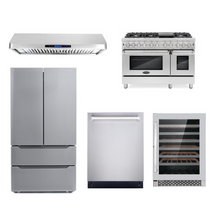 Cosmo 5 Piece Kitchen Appliance Package With Electric Range, Range Hood, Dishwasher, Refrigerator, Wine Cooler Stainless Steel COS-DFR486G/QS48 5PC