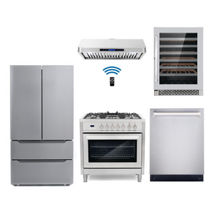 Cosmo 5 Piece Kitchen Appliance Package With Electric Range, Range Hood, Dishwasher, Refrigerator, Wine Cooler Stainless Steel COS-F965/QS90 5PC