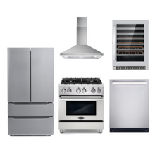 Cosmo 5 Piece Kitchen Appliance Package With Electric Range, Range Hood, Dishwasher, Refrigerator, Wine Cooler Stainless Steel COS-DFR304/63175 5PC