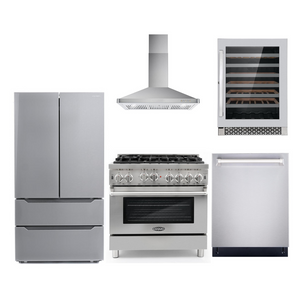 Cosmo 5 Piece Kitchen Appliance Package With Electric Range, Range Hood, Dishwasher, Refrigerator, Wine Cooler Stainless Steel COS-GRP366/63190 5PC