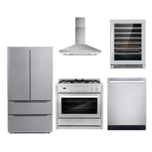 Cosmo 5 Piece Kitchen Appliance Package With Electric Range, Range Hood, Dishwasher, Refrigerator, Wine Cooler Stainless Steel COS-965AGC/63190 5PC