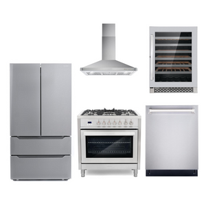 Cosmo 5 Piece Kitchen Appliance Package With Electric Range, Range Hood, Dishwasher, Refrigerator, Wine Cooler Stainless Steel COS-F965/63190 5PC