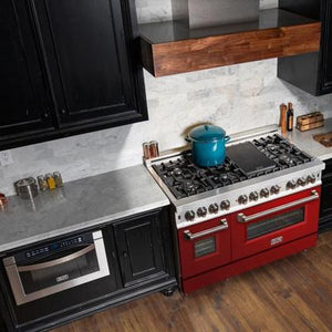 "ZLINE 48"" Double Oven Dual Fuel Range Stainless Steel Red Gloss Door 6 cu. ft. RA-RG-48"
