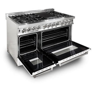 "ZLINE 48"" Double Oven Dual Fuel Range Stainless Steel White Matte Door 6 cu. ft. RA-WM-48"