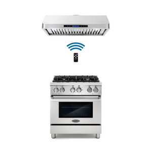Cosmo 2 Piece Kitchen Appliance Package - Dual Fuel Range And Range Hood COS-DFR304/QS75