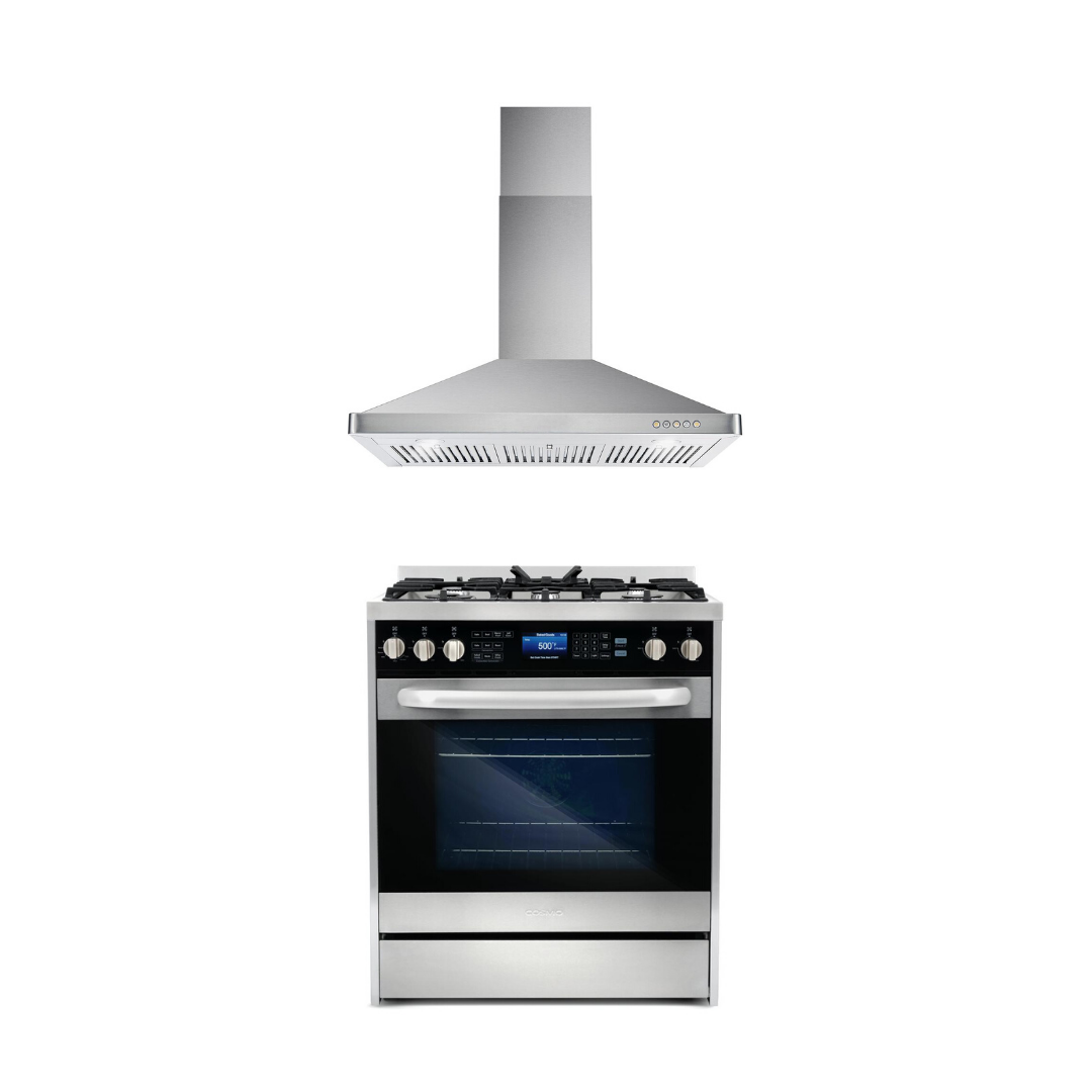 Cosmo 2 Piece Kitchen Appliance Package - Dual Fuel Range And Range Hood COS-305DFSC/63175