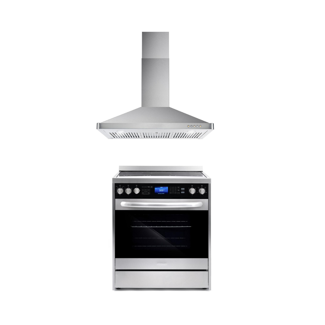 Cosmo 2 Piece Kitchen Appliance Package - Electric Range And Range Hood COS-305AERC/63175