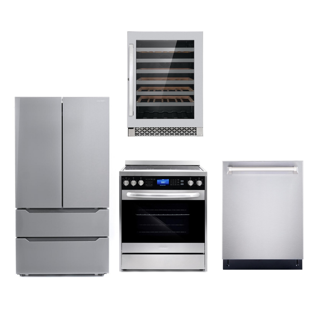 Cosmo 4 Piece Kitchen Appliance Package With Refrigerator, Electric Range, Dishwasher, Wine Cooler Stainless Steel COS-305AERC/NOHOOD 4PC